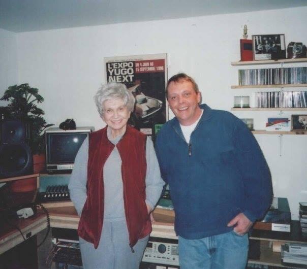 Rob in his studio with author Alice Munro