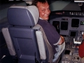 Rob in the cockpit of a CRJ700 Simulator